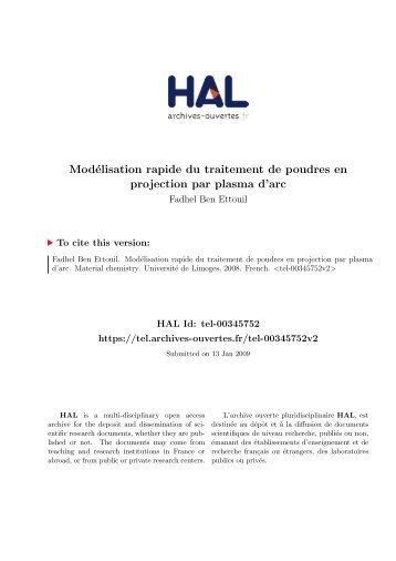 Modélisation rapide du traitement de poudres en ... - HAL - UNILIM