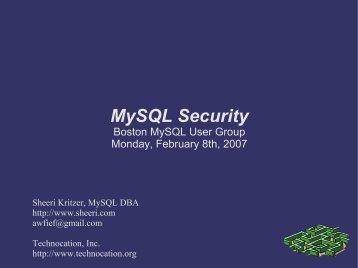 MySQL Security - Technocation, Inc.