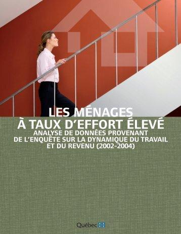 les ménages à taux d'effort élevé - Société d'habitation du Québec