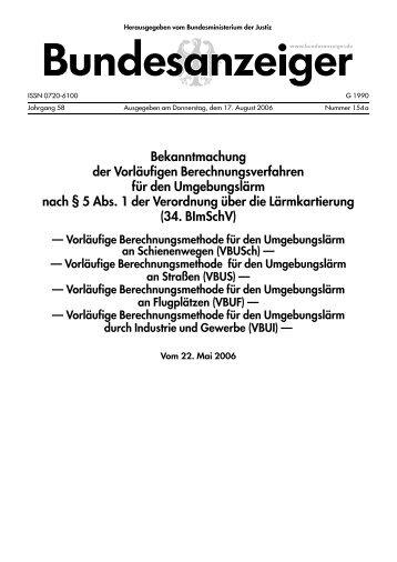 Bekanntmachung der Vorläufigen Berechnungsverfahren für ... - BMU