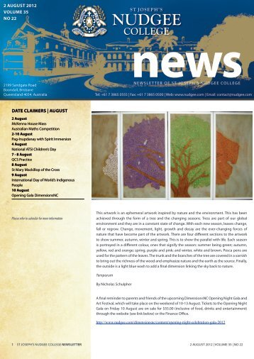 date claimers | august 2 august 2012 volume 35 no 22 - St Joseph's ...