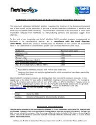 Certificate of Conformance on the Restriction of ... - NetMedia