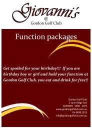 Function packages - Gordon Golf Club