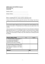 Proxy Form - March Golf Club