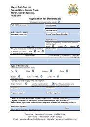Application for Membership - March Golf Club
