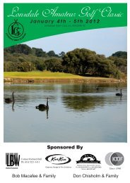 January 4th - 5th 2012 Sponsored By - Lonsdale Golf Club