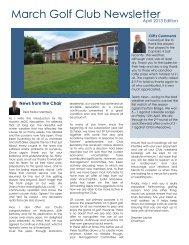 March Golf Club Newsletter