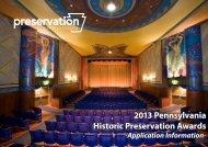 2013 Pennsylvania Historic Preservation Awards