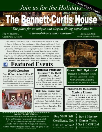 Join us for the Holidays - Bennett-Curtis House