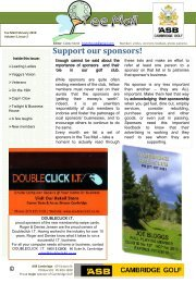 Support our sponsors! - Cambridge Golf Club