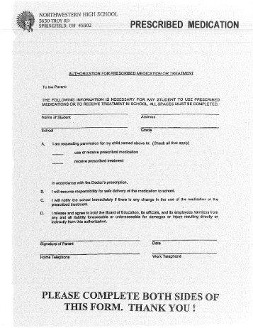 Medication Self-Administration Permission Form - Hamburg School