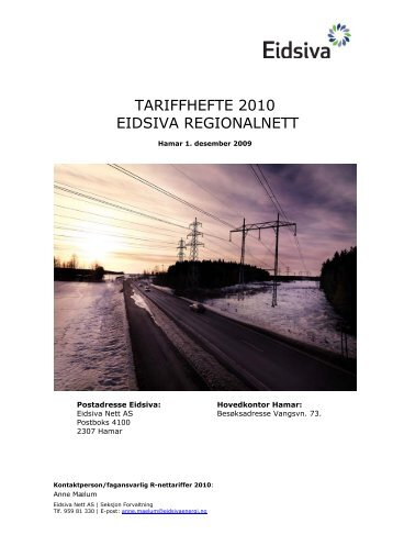 TARIFFHEFTE 2010 EIDSIVA REGIONALNETT - Eidsiva Nett AS