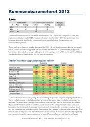 Kommunebarometeret 2012 om Lom - Kommunal Rapport