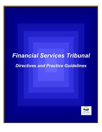 FST Practice Guidelines - The Financial Services Tribunal