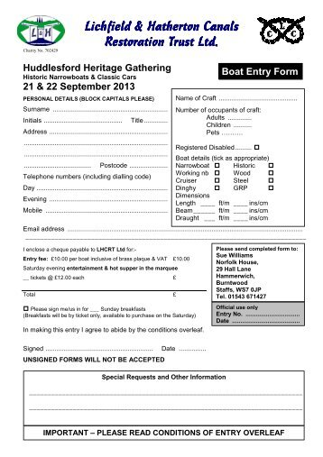 download Boat Entry Form here - Lichfield and Hatherton Canals ...