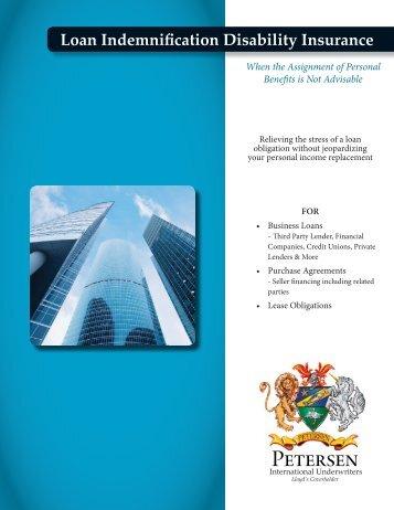 Loan Indemnification Disability Brochure - Petersen International ...