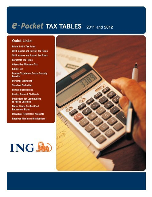 Ing E Pocket Tax Tables 2011 And 2012 Shaw American