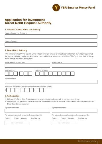 Authority To Direct Debit Form