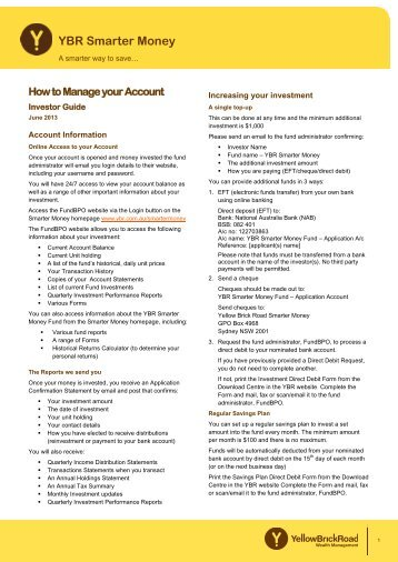 How to Manage your Account - Yellow Brick Road