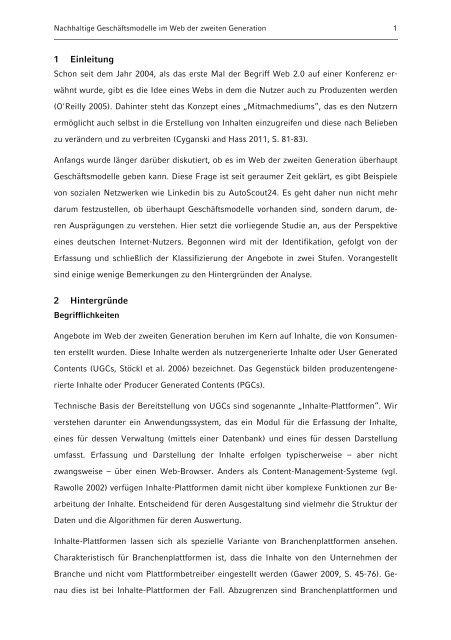 Geschäftsmodelle im Web der zweiten Generation - Institut für ...