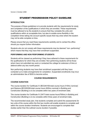 STUDENT PROGRESSION POLICY GUIDELINE