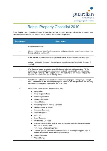 Residential Rental Property Checklist - Guardian Partners