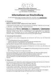 Informationen zur Einschreibung - Wilhelm-Hausenstein-Gymnasium