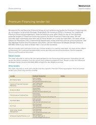 Premium Financing lender list - Shaw American