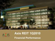 Presentation slides on Axis REIT financial performance for 1st ...