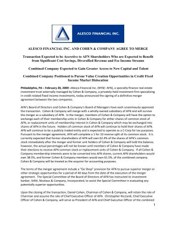 Alesco Financial Inc. and Cohen & Company Agree to Merge