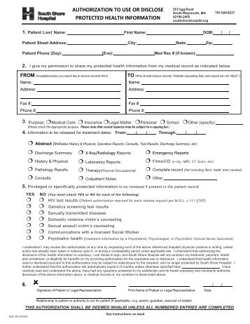 Release Of Information Form   South Shore Hospital