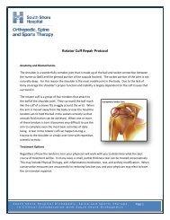 Rotator Cuff Repair Protocol - South Shore Hospital