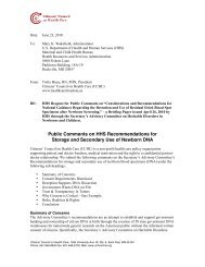 Public Comments to HHS - Citizens' Council for Health Freedom