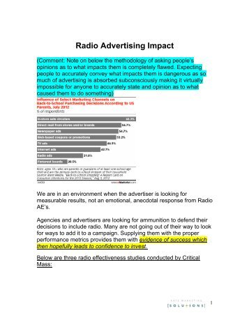 impact of radio advertisements on buying Impact of advertising on consumer purchase decision making - download as word doc (doc), pdf file when i listen to fm radio [ ] (d) when i come across attractive hoardings and posters [ ] (e) effects of advertisements on buying behavior a comparative study on male and female consumers.