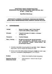 1 APRIL 2012 Spesifikasi Sebu - Tourism Malaysia
