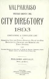 Valparaiso, Indiana city directory - Porter County, Indiana