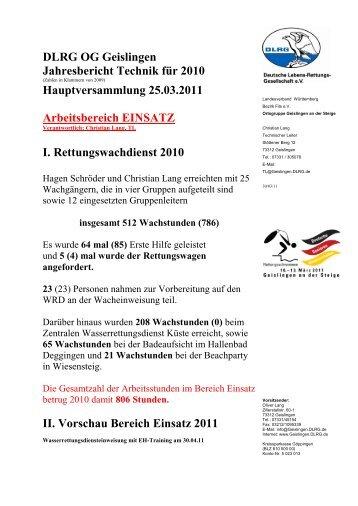 Technik 2010 - DLRG Ortsgruppe Geislingen