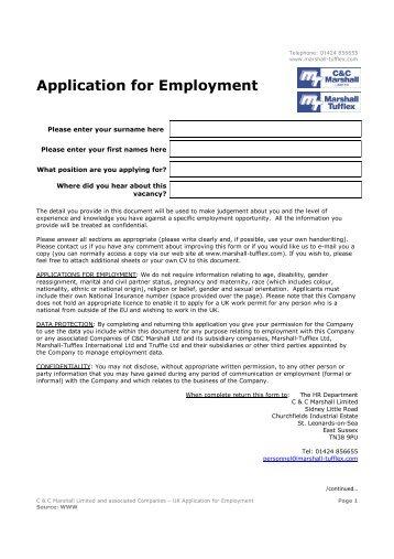 marshalls coaches llp application form – diesel mechanic