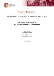 Department of Communication, Working Paper No. 25 – 2007 Alle ...