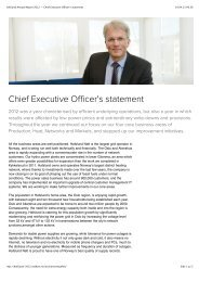 Hafslund Annual Report 2012 — Chief Executive Officer's statement