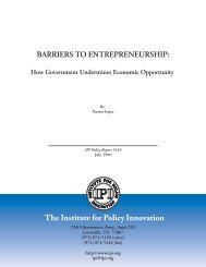BARRIERS TO ENTREPRENEURSHIP - Institute for Policy Innovation