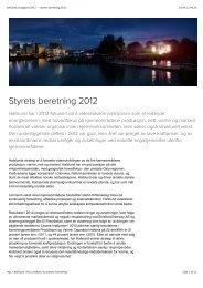 Hafslund årsrapport 2012 — Styrets beretning 2012