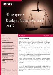 Singapore Budget Commentary 2007 - BDO Raffles
