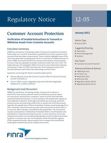 Regulatory Notice 12-05 - finra