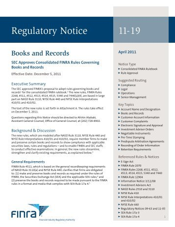 Regulatory Notice 11-19 - finra