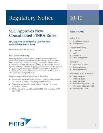 Regulatory Notice 10-10 - finra