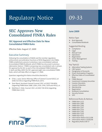Regulatory Notice 09-33 - finra