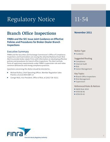 Regulatory Notice 11-54 - finra