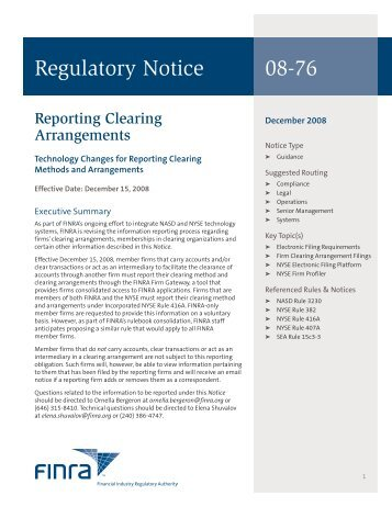 Regulatory Notice 08-76 - finra