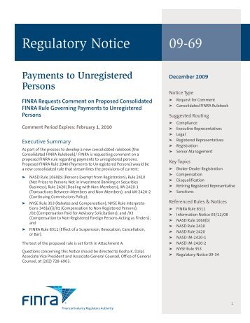 Regulatory Notice 09-69 - finra